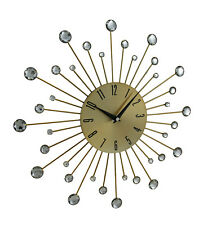 Sparkling Bursting Bling Metallic Gold & Faceted Jewels Retro Wall Clock 15 In.