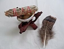 Small Abalone Shell and Tripod White Sage Smudge Stick & Feather Kit (Cleansing)