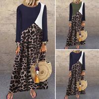 Vintage Femme Casual en vrac Manche Longue Leopard Plissé Beach Robe Dresse Plus