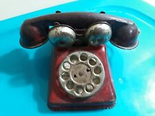 Antique Metal Toy Red Rotary Telephone Kids Children's Old Toys