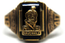 1940  10K Solid Rose Gold and Natural Onyx Haverhill High  School Ring Size 6