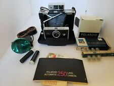 Vintage Polaroid 250 Land Camera With Case and Accessories Flash Very Clean
