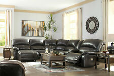 Living Room 6 piece Sectional - Gray Leather Power Reclining Sofa Chaise Set F1K