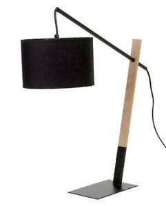 Large Modern Black Wood & Metal Contemporary Table Desk Lamp ~ 91-0171