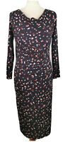 Phase Eight 10 Blue Multicolour Long Sleeve Ruched Fitted Abstract Midi Dress