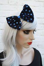 Blue Polka Dot Hair Bow Vintage Style 50's Look Kawaii Gothic Lolita Retro