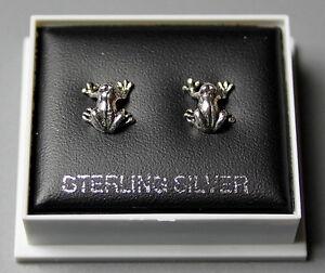 STERLING SILVER 925,  FROG DESIGN STUD EARRINGS BOXED, BUTTERFLY BACKS,  STUD 11
