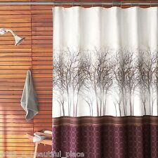 Parker Loft Dawson Fabric Shower Curtain Purple Brown White Woodland Forest Bath