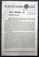 1957 ADELE ADDISON CONCERT PROGRAM Rare CLASSICAL Opera Singer SOPRANO Payne