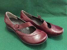 Hush Puppies Women Leather Burgundy Shoes Trope Red 38 24.5 7 W Mary Jane Loafer