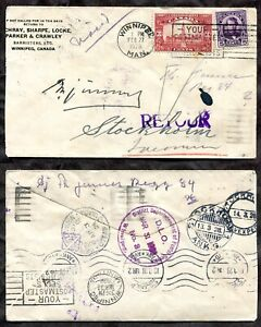 p1300 - WINNIPEG 1928 Cover to Sweden. Returned. DLO Stamps