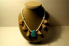 Pannee Turquoise Boho Stone Bead and Tassel Fringe Necklace
