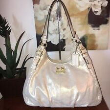Coach Madison Gold Metallic Leather Maggie Medium Hobo Handbag 19700