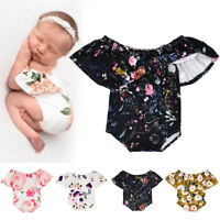 Summer Newborn Baby Bodysuit Rompers Girls Lace Floral Photography Prop Costume