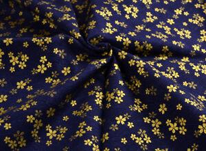 "44"" WIDE JAPANESE 100% COTTON CALICO KIMONO FABRIC: GOLDEN SAKURA FLOWER DITSY"