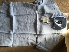 CREW CLOTHING MENS SHORT SLEEVE LINEN SHIRT -SKY BLUE-LARGE  RRP £50