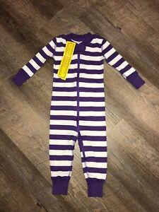NWT HANNA ANDERSSON Baby Organic Zip Sleeper Purple White Stripe 70, 6-12 Months