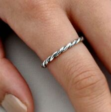 .925 Sterling Silver Ring size 3 Twist Midi Kids Ladies Knuckle Braided New p84