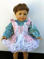 "Clothes for American Girl 18""Doll Dress w/Blouse Lot 2pc Green Pink Lace Ruffles"