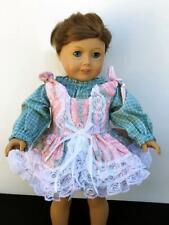 """Clothes for American Girl 18""""Doll Dress w/Blouse Lot 2pc Green Pink Lace Ruffles"""