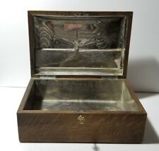 Antique Vintage Wood Oak Tobacco Cigar Humidor Box Case w/ Metal Lining & Key