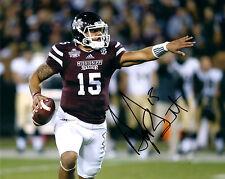 Dak Prescott reprinted auto signed football photo Dallas Cowboys Miss St.& card^