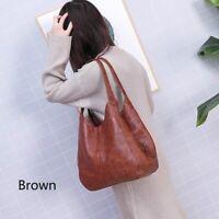 Women Vintage PU Leather Bag Shoulder Bag Large Capacity Ladies Hand Bags Tote