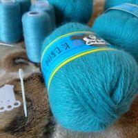 Cashmere Yarn Skein Hand Knitting Set For Cardigan Scarf Long Plush Mink 2 Pcs