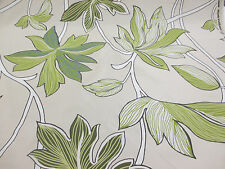 """Linen"" Shade & Green Leaves, Floral, Printed Taffeta Curtain Fabric"