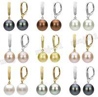8MM-14MM Genuine South Sea Shell Pearl Leverback Drop Fashion Dangle Earrings