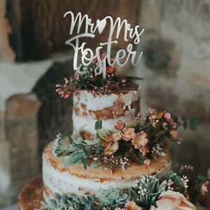Custom Mr & Mrs Cake Topper Personalized Wedding Anniversary Bride Groom