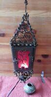Vintage Spanish Boho Wrought Iron Glass Hanging Pendant Light Lamp Chandelier