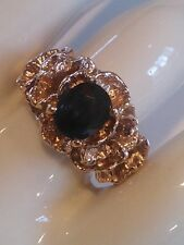 14k Yellow Gold Ring 1.35 ct Blue Sapphire Wedding Band  size 9  #6