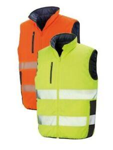 Result Safe-Guard Réversible Orange Ou Jaune Doux Rembourré Gilet Matelassé