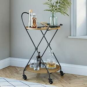 Nathan James Sage Retro Mid-Century Round Rolling Bar Serving Cart with 2-Tie...