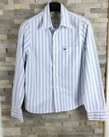 Hollister Mens Size S Long Sleeve Striped White Blue Shirt