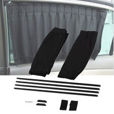 2pcs Black Car Side Window Curtain Rail Slider Sun Visor Blind Universal 50x39cm