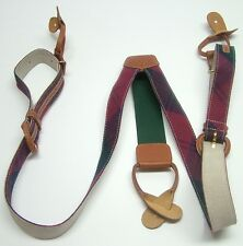 COLOURS PLAID CHECKERED TARTAN RED BLUE BUCKLE LEATHER COTTON SUSPENDERS BRACES