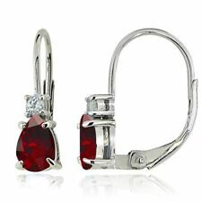 Drop/Dangle Ruby Sterling Silver Fine Earrings