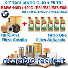 KIT TAGLIANDO BMW 118D 120D E81 E82 E87 E88 FILTRI + OLIO CASTROL 5W30 N47D20
