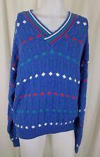 Vintage Men's Izod VNeck Diamond Cricket Cable Knit Sweater size L England Blue