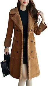 Tanming Women's Winter Sherpa Lined Faux Suede Leather Coat Outerwear Sherling J