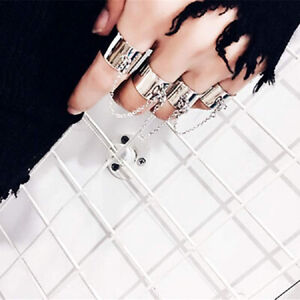 Adjustable Punk Cool Hip Pop Rings Multi-layer Chain Four Open Finger Ring ZH UK
