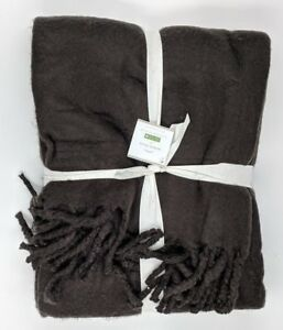 """POTTERY BARN ~MOHAIR OVERSIZED THROW ~BLACK ~ 55"""" X 80"""" ~SOLD OUT EVERYWHERE"""