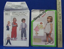2 Vintage Toddler Simplicity Sewing Patterns Romper Sundress Bloomers Vest Pants