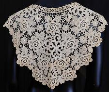 Vintage Edwardian Antique Cream Lace Large Collar Cape Pelerine Dress Trim