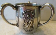 VINTAGE STERLING SILVER 3 HANDLED CUP WITH RAISED IMAGE OF HARRY VARDON