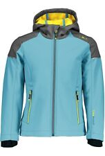Cmp Softshell Jacket Girl Fix Hood Jacket Light Blue Windproof Waterproof
