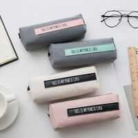 Simple Text Pencil Case Canvas School Supplies Stationery Gift Students Cut X8W4