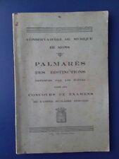 MONS / Conservatoire de musique de Mons Palmarès distinctions élèves  1938-1939